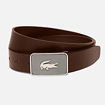 Lacoste Smooth cowhide leather belt Men