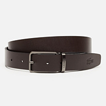 Lacoste Smooth calfskin leather belt with gift box Men