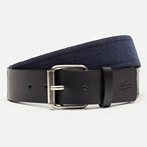 Lacoste Cotton and smooth cowhide leather belt Men