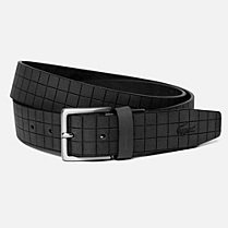 Lacoste Printed smooth cowhide leather belt Men