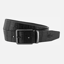 Lacoste Crocodile print cowhide leather belt Men