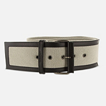 Lacoste Smooth cowhide leather and woven webbing belt Women
