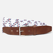 Lacoste Live smooth cowhide elasticated leather belt Men
