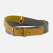 Lacoste Cowhide leather and woven webbing belt Men