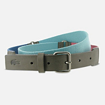 Lacoste Matte cowhide leather and woven webbing belt Men