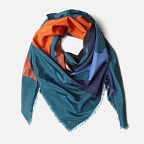 Lacoste Printed scarf in cotton and silk Women