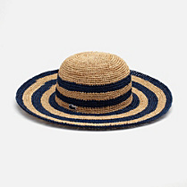 Lacoste Broad-brimmed hat in striped braided straw Women