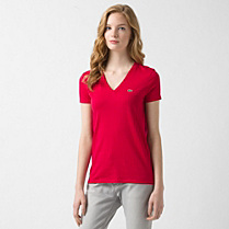 Lacoste Plain V-neck tee-shirt Women