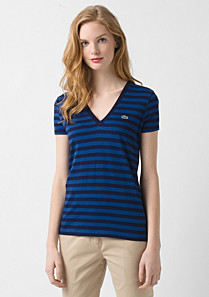Lacoste Striped V-neck tee shirt Women