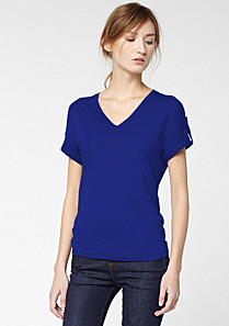 Lacoste V-neck tee-shirt with roll-up sleeves Women