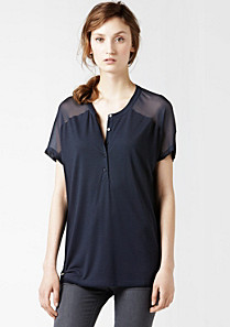 Lacoste Short sleeved top with silk inset Women