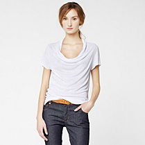 Lacoste Cowl neck tee-shirt with linen Women