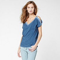 Lacoste V-neck tee-shirt with bare shoulders Women