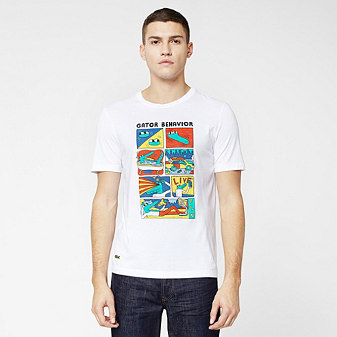 Printed Lacoste Live Ultra slim fit tee-shirt