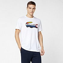 Lacoste Sport tee-shirt with multi-coloured crocodile Men