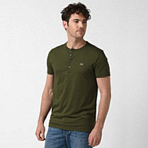 Lacoste Grandad neck tee-shirt in Pima cotton Men