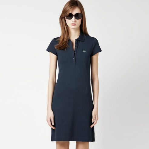Piqué knit polo dress