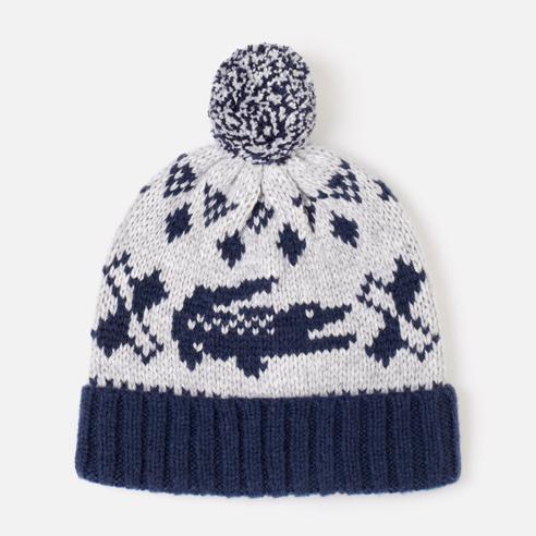 Jacquard-Mütze mit Bommel
